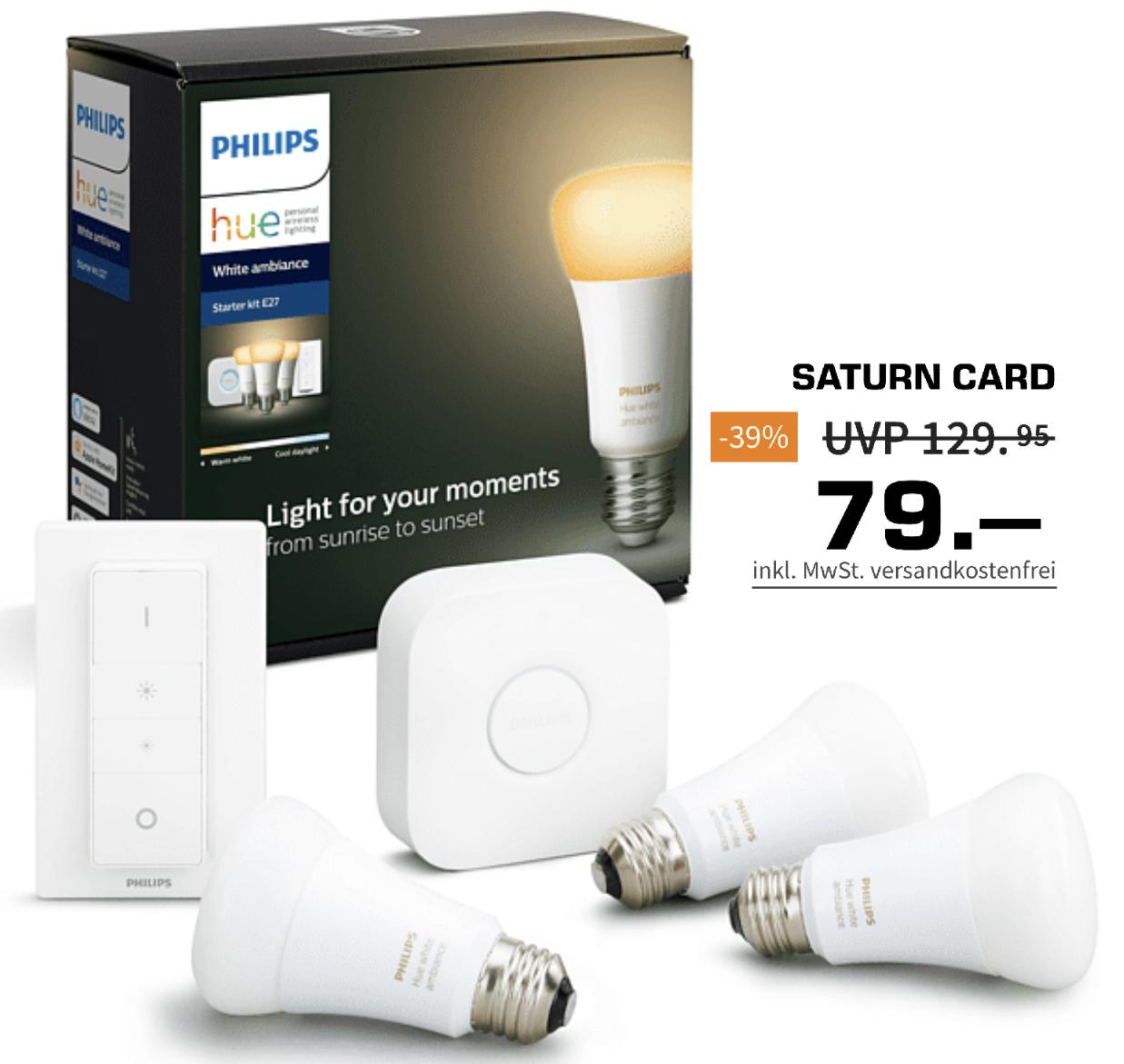 Saturn Member: PHILIPS Hue White Ambiance E27 3er Bluetooth Starter Kit für 79€ / Hue Play 1er Erweiterung für 37€ (Abholung) bzw. 39,99€
