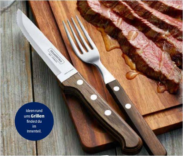 Tramontina Churrasco, 2-teiliges Besteck-Set (Steakmesser und Steakgabel) für 6,99 Euro [ Aldi ]
