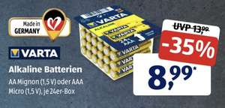[ALDI SÜD] 24er Varta 1,5V AA Mignon oder AAA Batterien