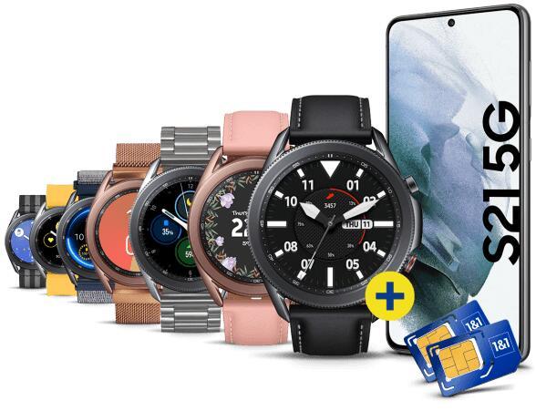 Samsung Galaxy S21 5G/ Plus/ Ultra + Samsung Galaxy Watch3 LTE, versch. Kombimöglichkeiten + Allnet-Flat (3GB) | +200€ Samsung Pay