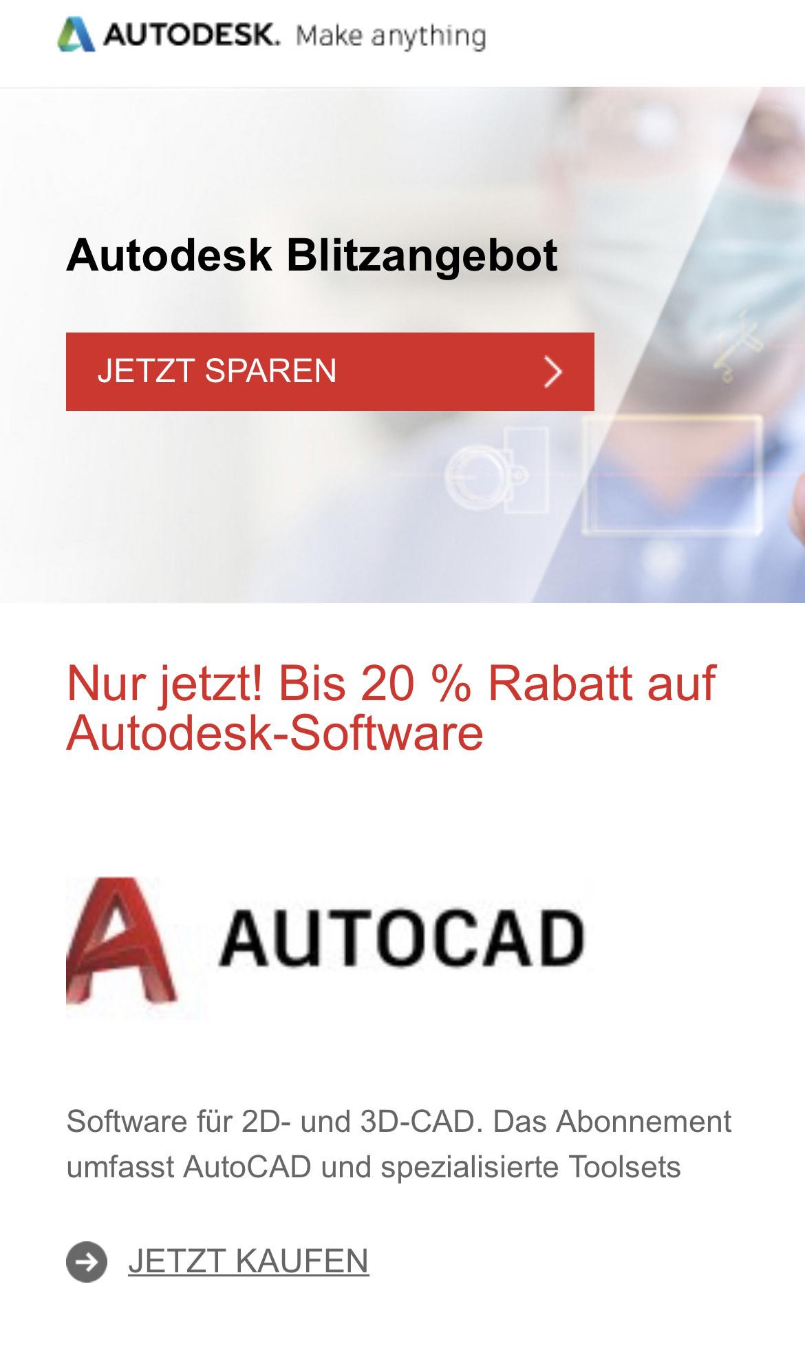 Bis zu 20% Rabatt auf Autodesk-Software