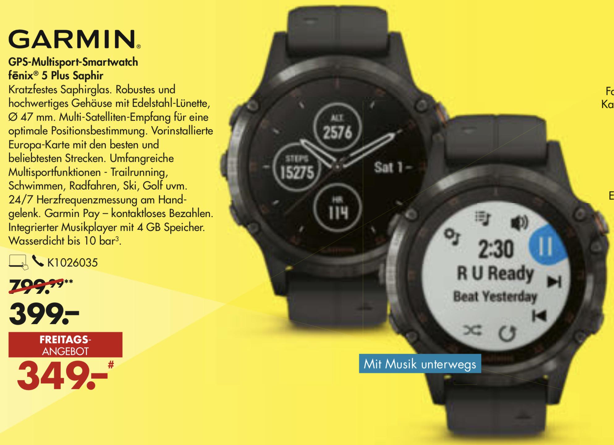 Nur am 23.04.: Garmin Fenix 5 Plus Sapphire Smartwatch für 349€