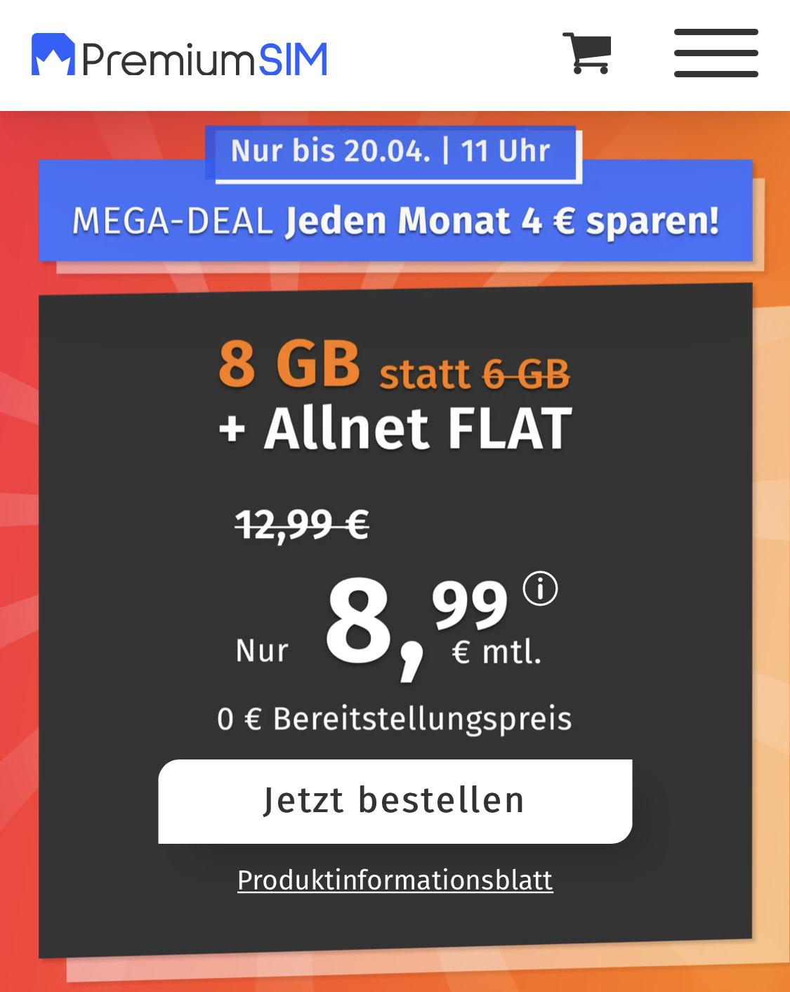 8GB LTE PremiumSIM Tarif für 8,99€ im Monat (3 Monate/ 24 Monate)
