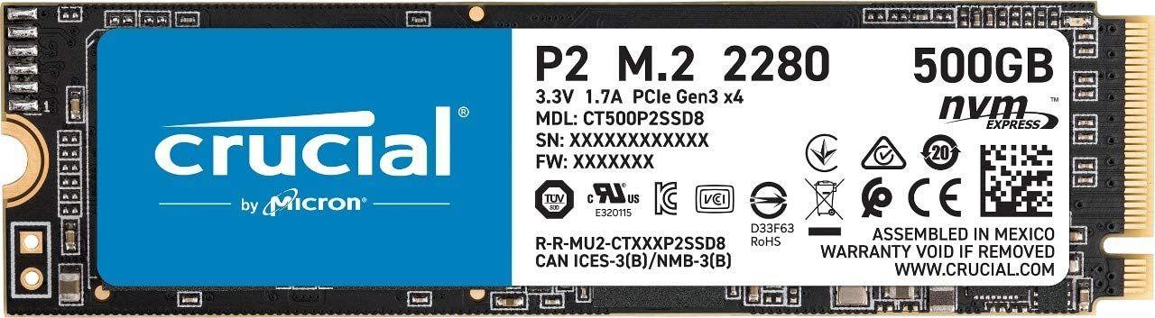 Crucial P2 SSD 500GB (2300 MB/s, 3D NAND TLC, NVMe, PCIe, M.2)