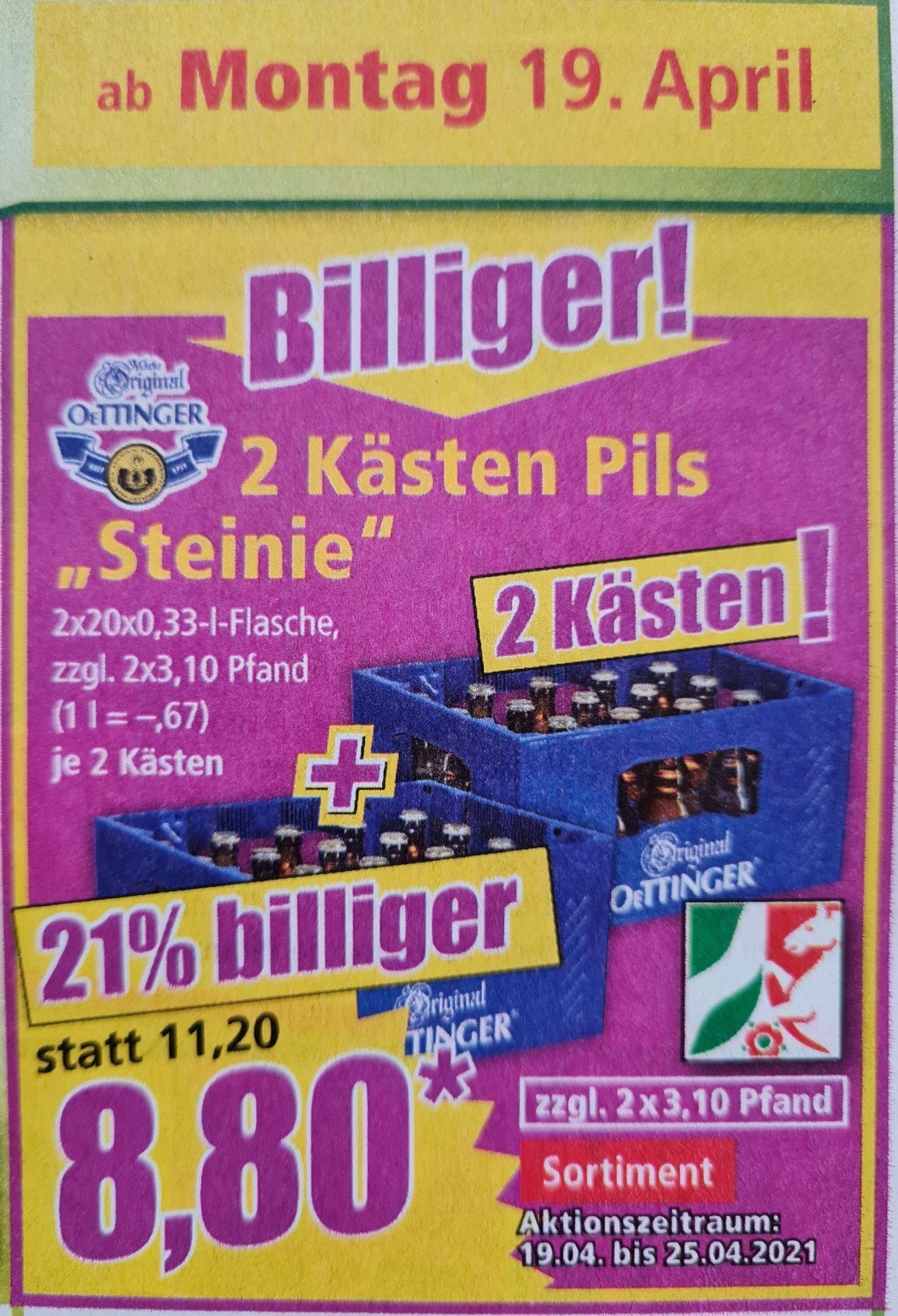 """2 Kästen OETTINGER Pils """"Steinie"""" ab 19.04 im Norma"""