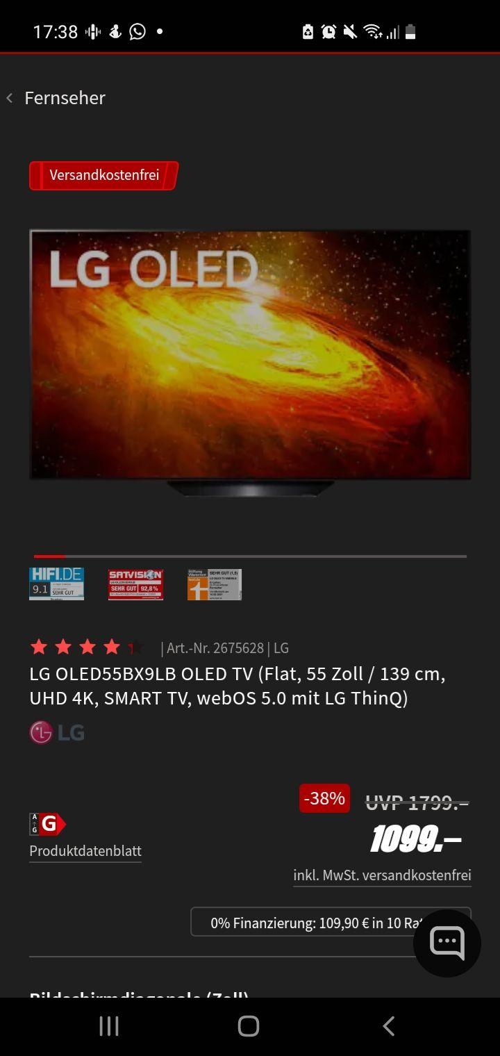 LG OLED55BX9LB OLED TV (Flat, 55 Zoll / 139 cm, UHD 4K, SMART TV, webOS 5.0 mit LG ThinQ) 120hz