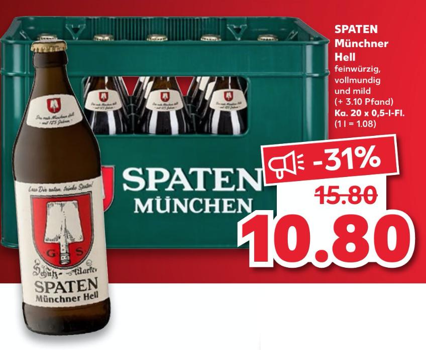 [KAUFLAND] Spaten Münchner Hell (20 x 0,5l)