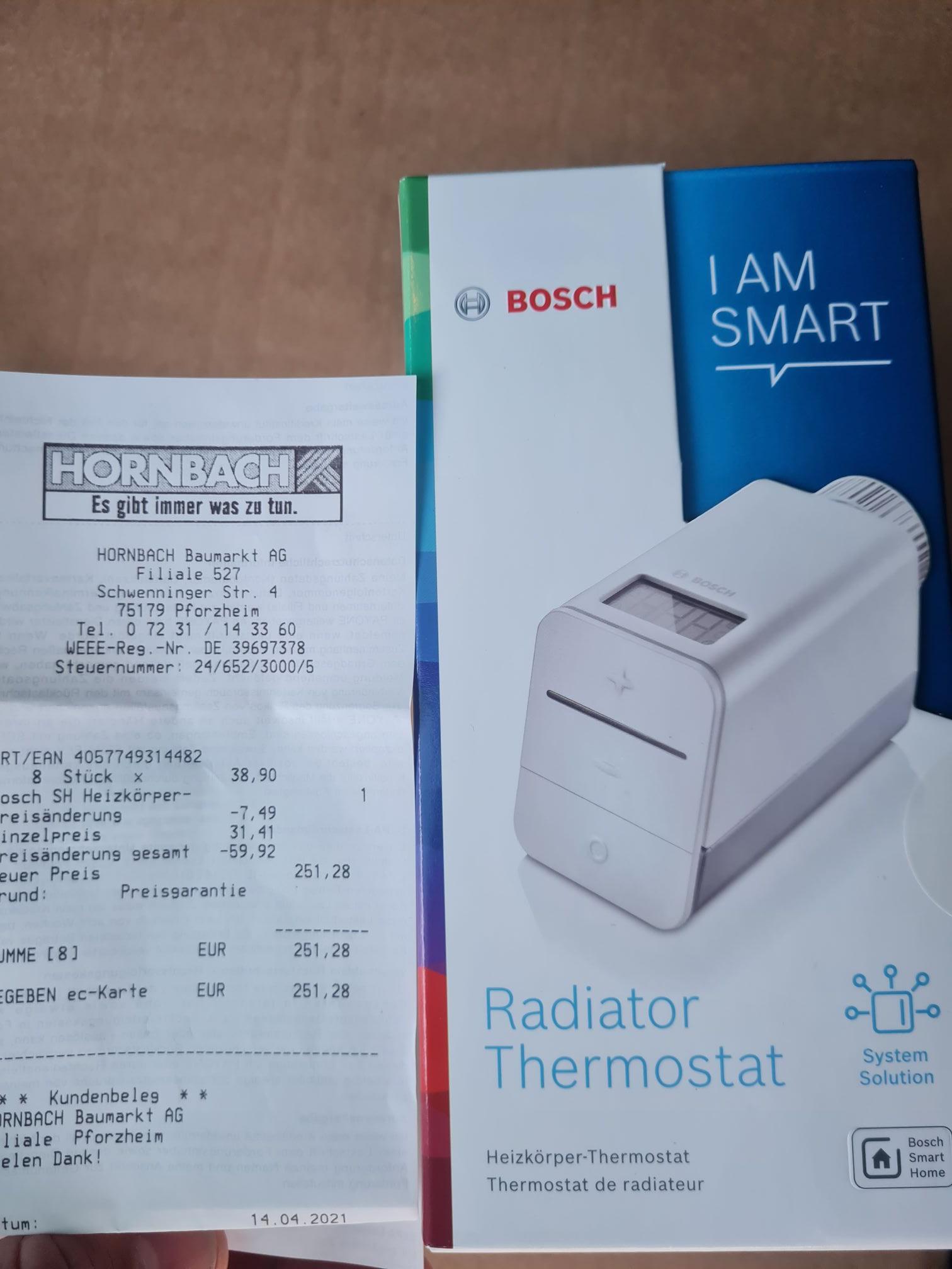 Bosch Smart Home Thermostat Hornbach TPG nur im Markt