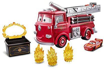 Disney Pixar Cars Farbwechsel Red Stunt-Spielset und exklusives Lightning McQueen-Fahrzeug mit Farbwechseleffekt [Amazon Prime]