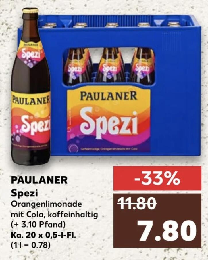 Paulaner Spezi - 20 x 0,5l für 7,80 € (+ 3,10€ Pfand) [Kaufland - evtl nur lokal BaWü/Bayern]