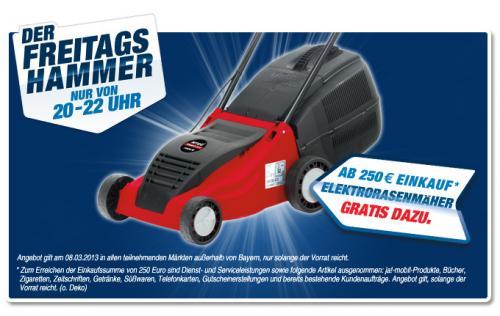 Gratis Elektrorasenmäher bei Toom Baumarkt ab 250 Euro Einkaufswert