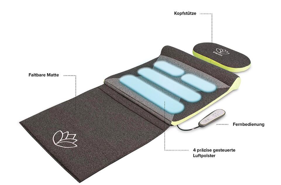 HoMedics Stretchingmatte XS inspiriert durch Yoga - Fernbedienung, einstellbare Intensität, vorprogrammierte Yoga/Stretchmatte