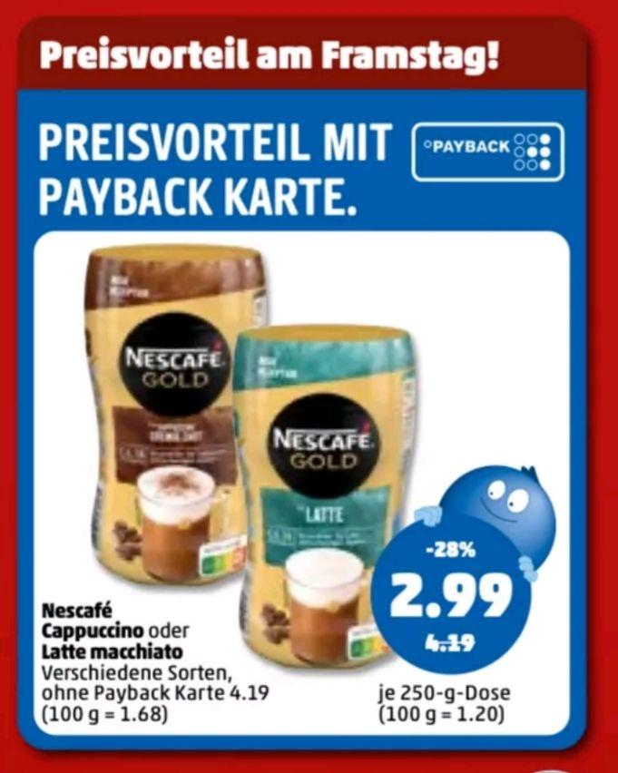 Nescafe Cappuccino oder Latte Macchiato 250g. Dose Penny Payback Preisvorteil