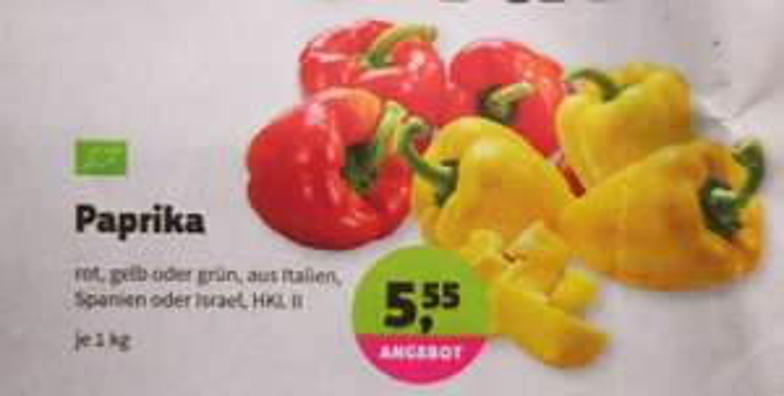 [denn's BioMarkt] Paprika (Bio) je Kilo für 5,55€
