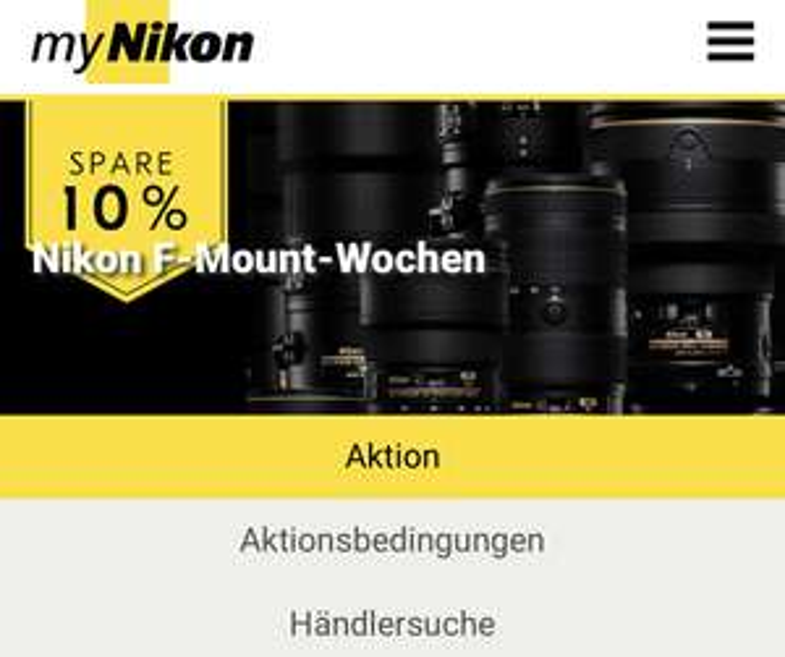 F-Mount Nikon Objektiv Wochen 10% auf vorrätige Objektive