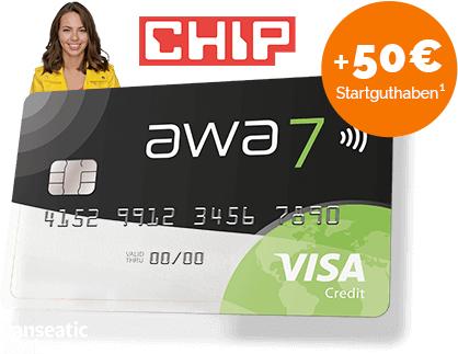 awa7® Visa Karte (Hanseatic) dauerhaft kostenlos & derzeit mit 50 € Guthabenbonus