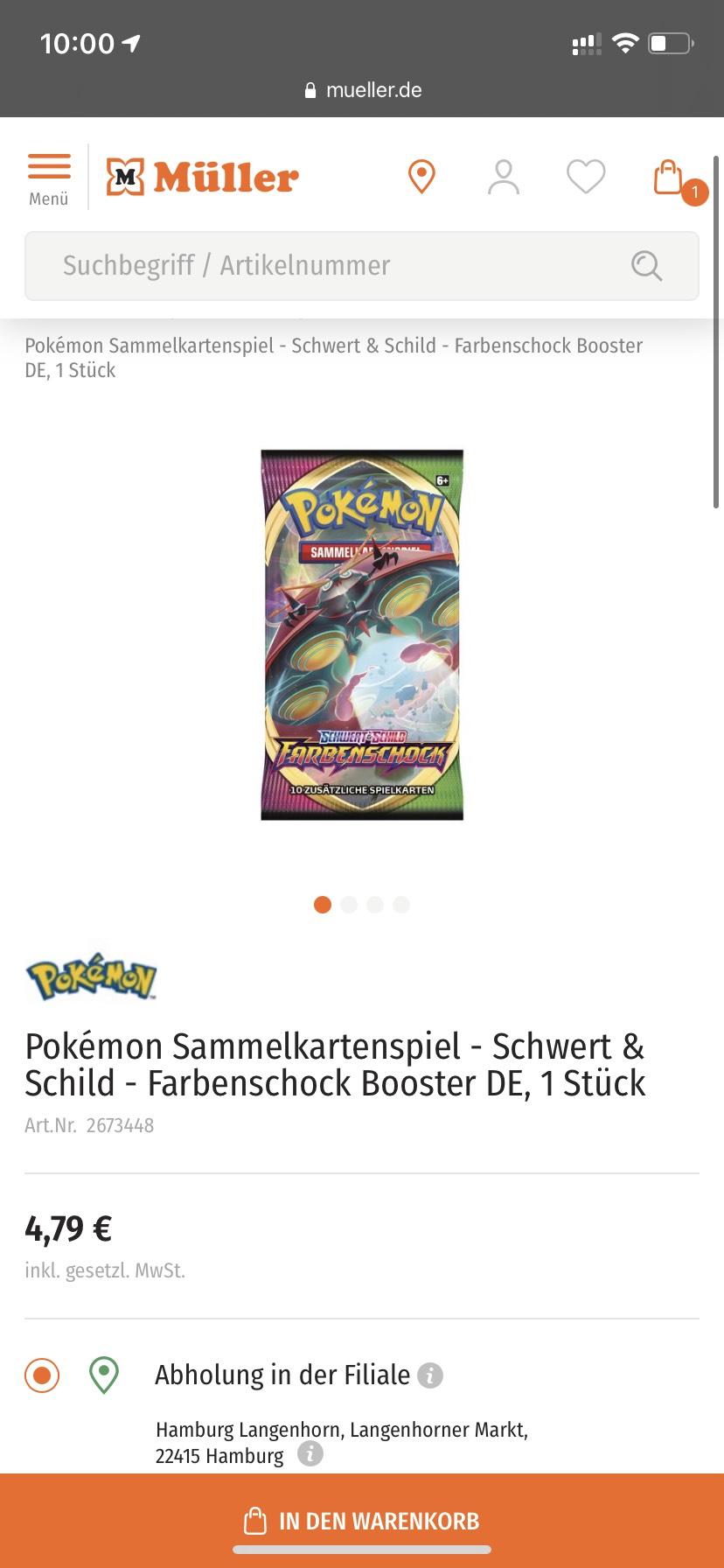 Pokemon Farbenschock Booster Müller abholbar ab 20.04