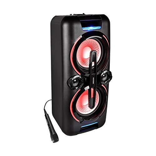 MEDION X61555 Party-Soundsystem (Party Lautsprecher mit Bluetooth 2.1, Akku für bis zu 4 Std, Kompaktanlage, 2 x 350 Watt, X-Bass (Prime)