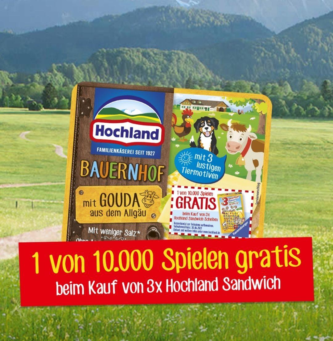 [Aktion Hochland] 3 x Sandwich-Scheiben kaufen, 1 original Ravensburger-Spiel gratis