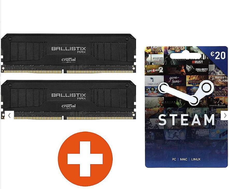 (2x8GB) Crucial Ballistix MAX DDR4-4400 Black Speicher Kit + 20€ Steam (PC)