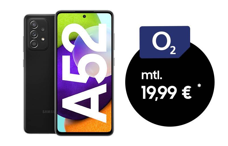 Samsung Galaxy A52 5G Version mit 8/256GB im O2 Blue (12GB LTE 50Mbit, Allnet/SMS, VoLTE) mtl. 19,99€ einm. 19€