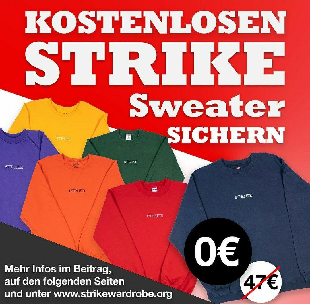 STRIKE Sweater 0€+8,99€ (Versand) mit Code und Story