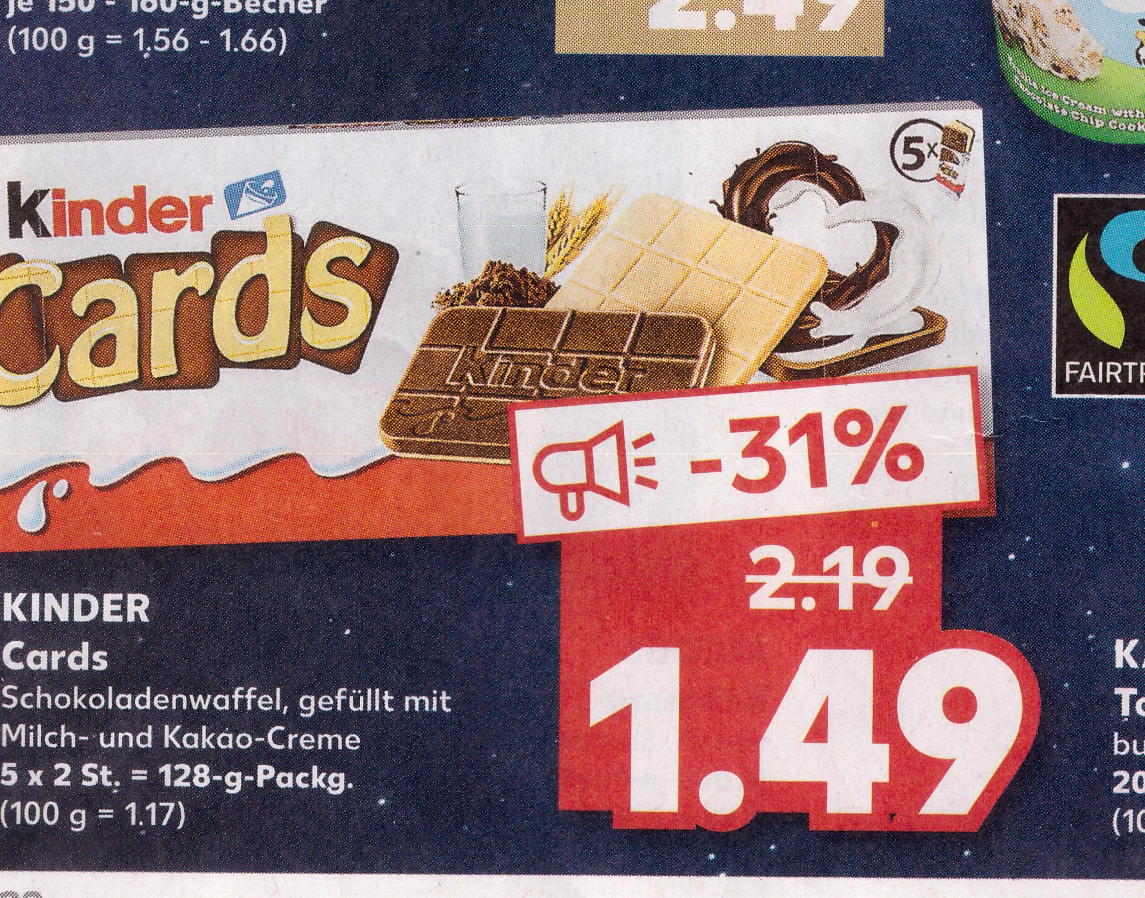 Kindercards im Kaufland für 0,99€ pro Stück möglich