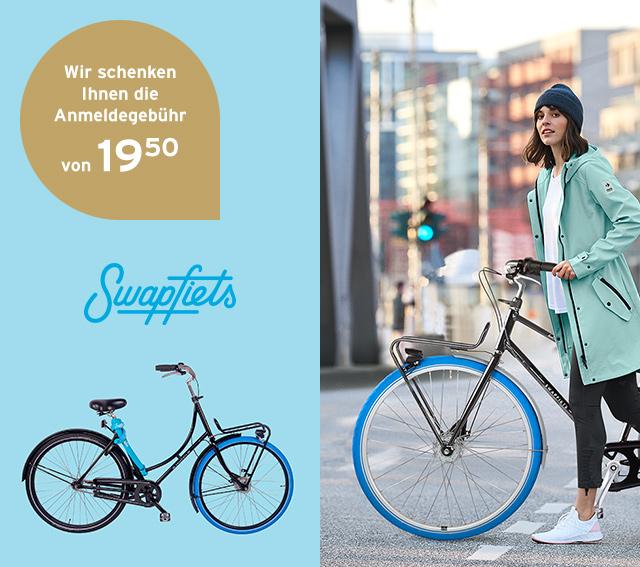 Tchibo / Swapfiets: Anmeldegebühr bei Mietvertrag über 19,50 € sparen, Monats Mietkosten je nach Fahrrad ab 16,90 €