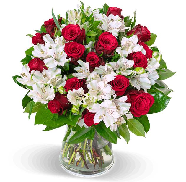 35 Stiele Liebesgruß mit bis zu 150 Blüten (Rote Rosen, weiße Inkalilien)