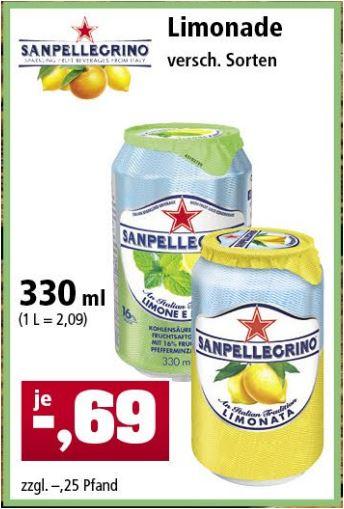San Pellegrino, 0,33l - Dose (verschiedene Sorten) für 69 Cent / Maryland Snack Nüsse 275g für 2,77 Euro [Thomas Philipps]