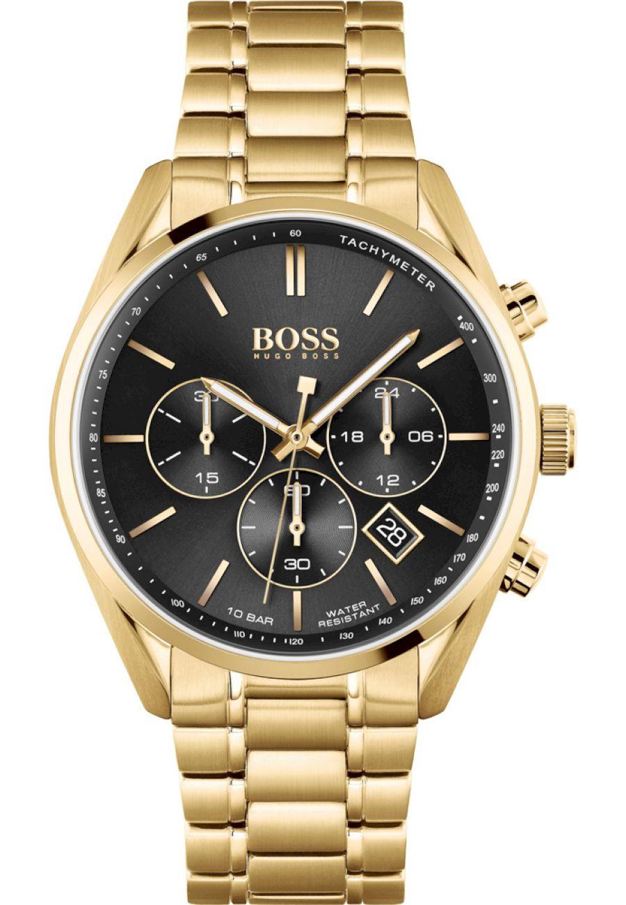 Hugo Boss Herren Armbanduhr Champion Chronograph 1513848 Gold schwarzes Ziffernblatt Quarzuhr
