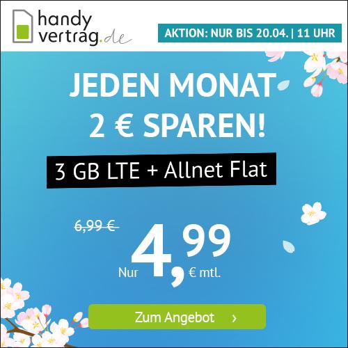 3GB LTE Handyvertrag.de Tarif für mtl. 4,99€ mit Allnet- & SMS-Flat + VoLTE & WLAN Call (mtl. kündbar; Telefonica-Netz)