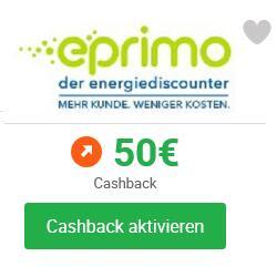 [iGraal] 50€ Cashback statt 25€ für Strom oder Gas von eprimo