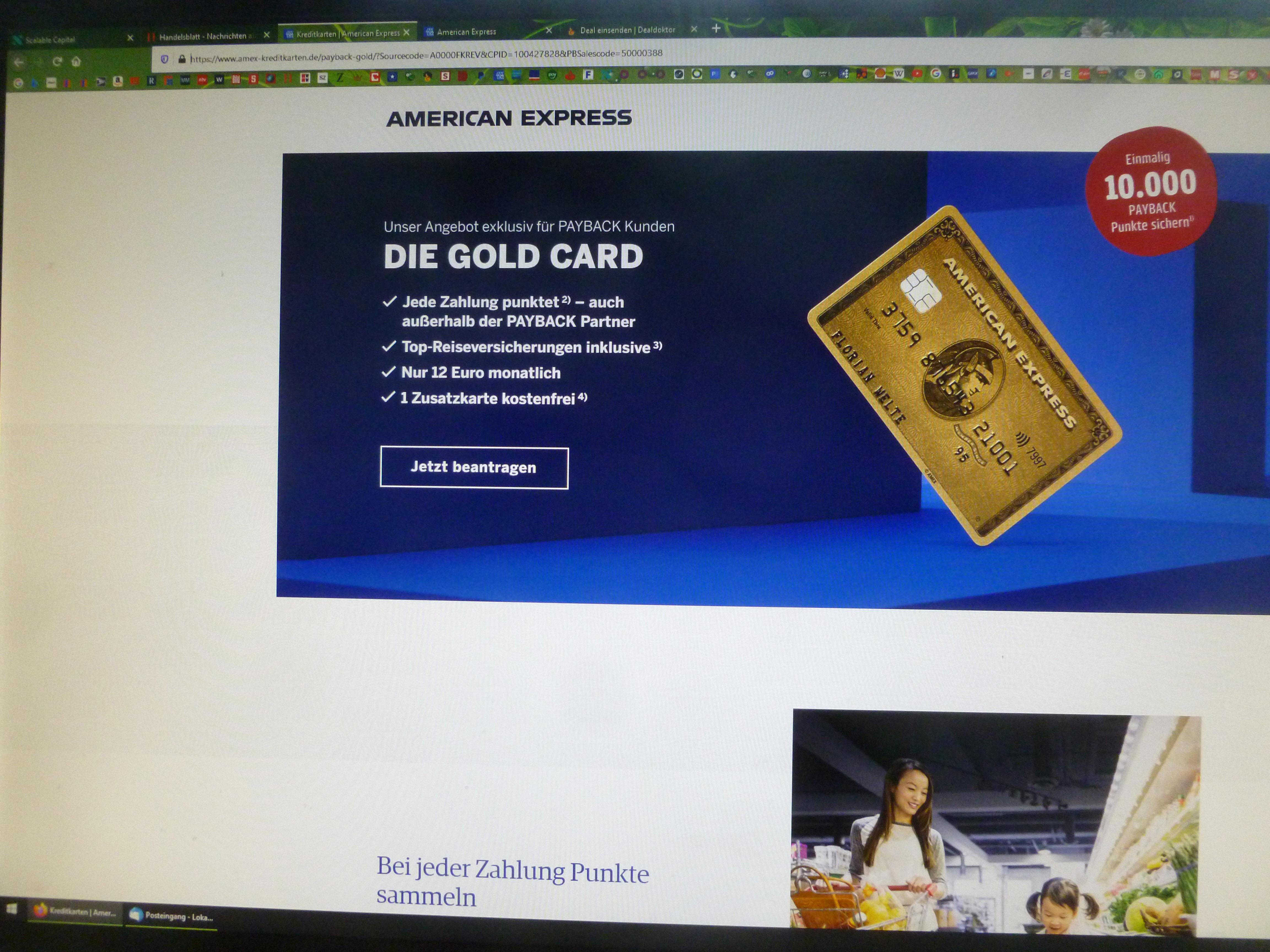 10.000 Paybackpunkte für American Express Goldkarte
