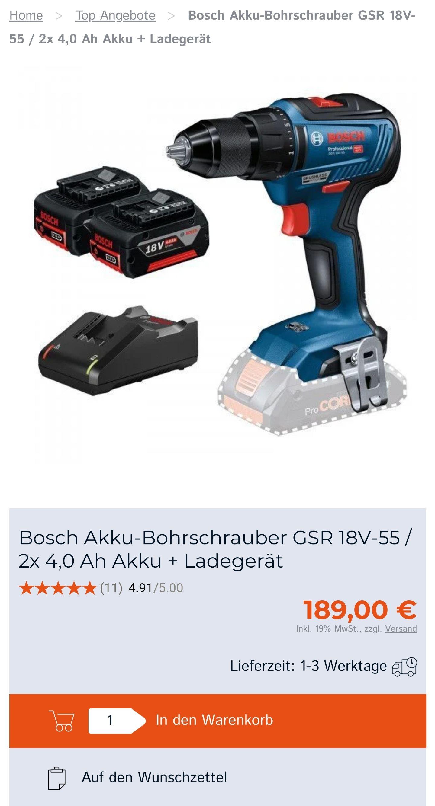 Bosch GSR 18V-55 Professional2x 4,0 Ah+ Ladegerät