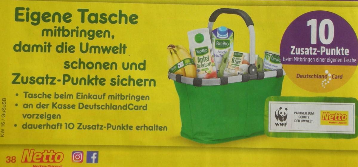 [Netto MD] DeutschlandCard 10 Zusatz-Punkte beim Mitbringen einer eigenen Tasche