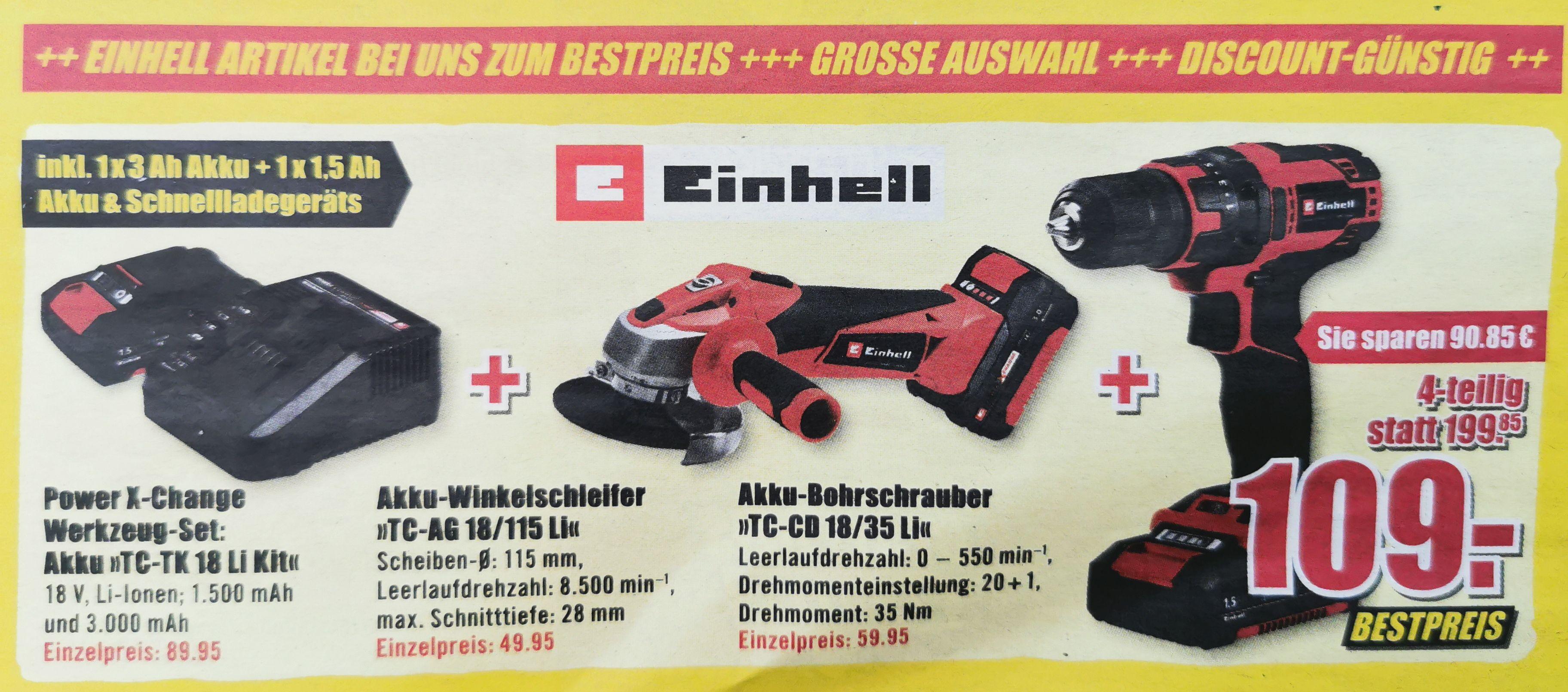 Einhell Akku Winkelschleifer + Akku-Bohrschrauber Set + Akku (18V Li 1.500 mAh + 3.000 mAh) + Schnelllader, lokal, B1 Discount Baumärkte