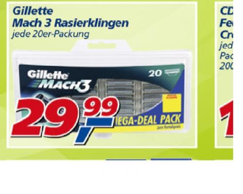 [Offline] 20 GILLETTE - MACH3- Klingen bei REAL für 29,99 Euro