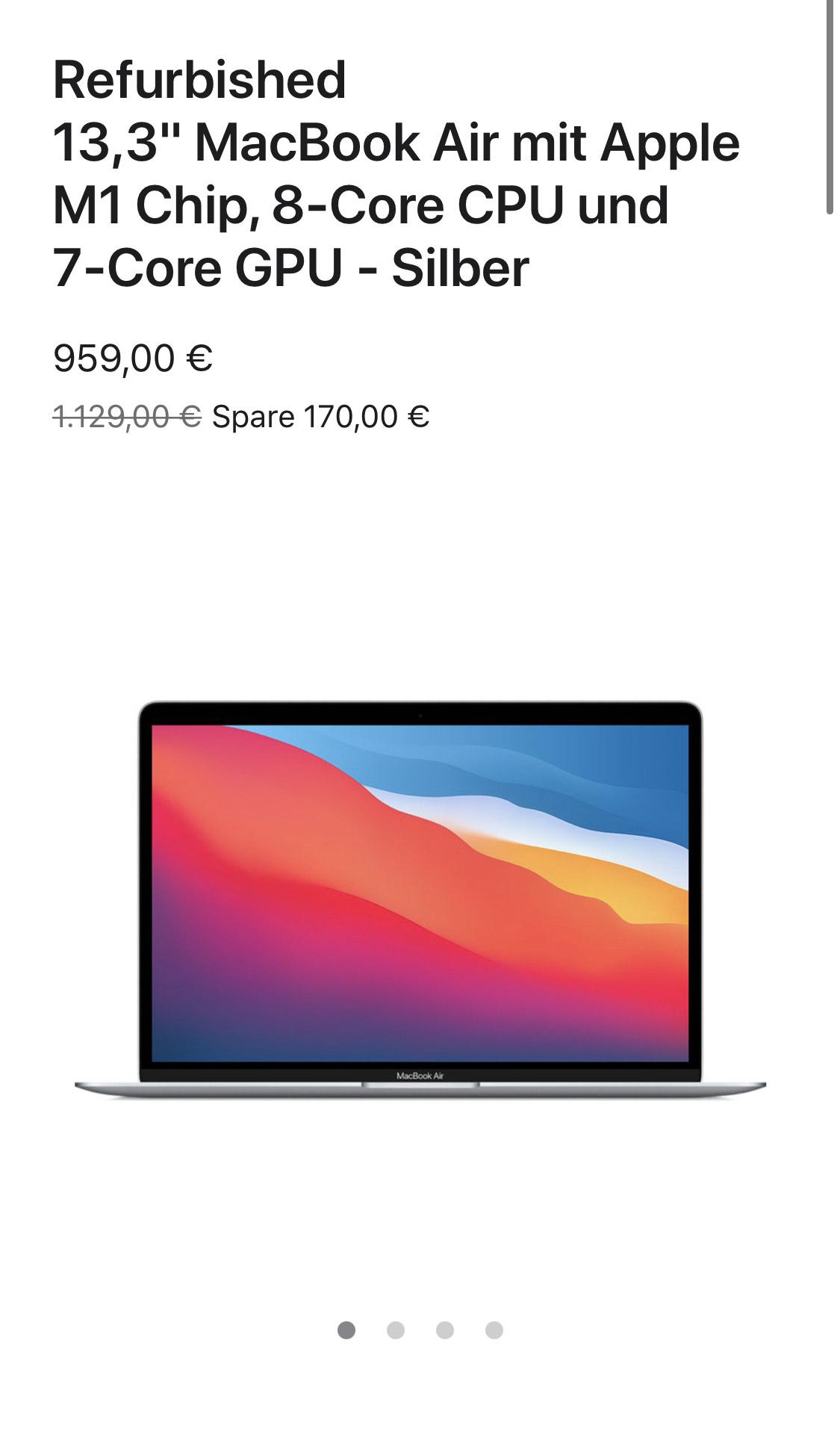 """[Apple Store] Refurbished 13,3"""" MacBook Air mit Apple M1 Chip, 8‑Core CPU und 7‑Core GPU"""