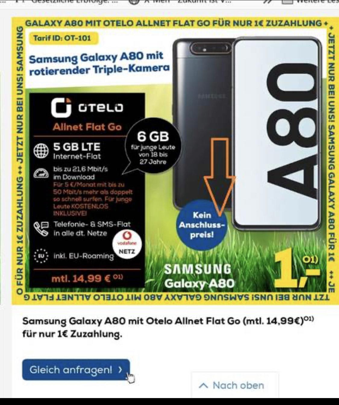 [OTELO] Samsung Galaxy A80 mit 5GB Internet + Allnet/SMS Flat & 21,6 Mbit LTE // Einmalig: 1€, Monatlich: 14,99€