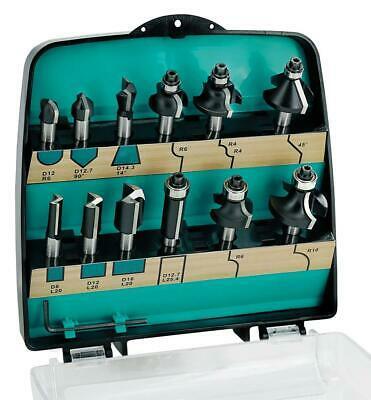 ENT 09012 12-tlg. HW Fräser Set in Kunststoffkassette - für Oberfräsen mit 8mm Aufnahme