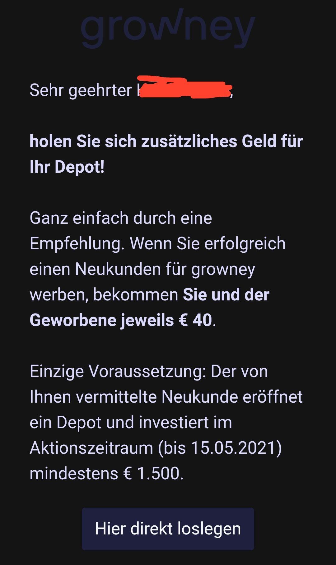 [Robo Advisor] Growney KwK je 40 EUR für Werber und Geworbenen ab 1.500,00 EUR Neuanlage