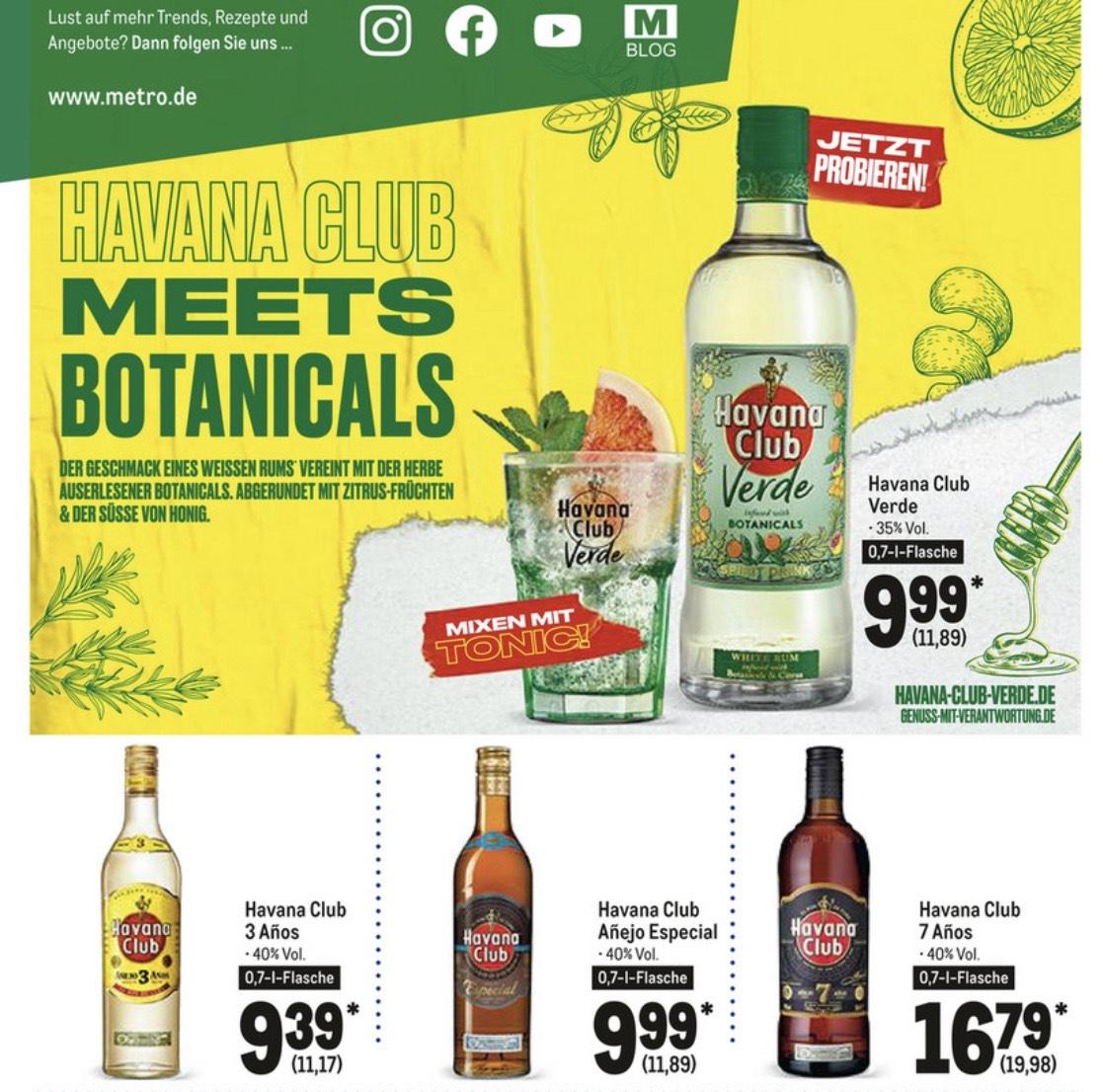 Diverse Sorten Havana Club Rum (Añejo Especial, 3 Años, 7 Años, verde) jeweils 0,7l Flaschen.