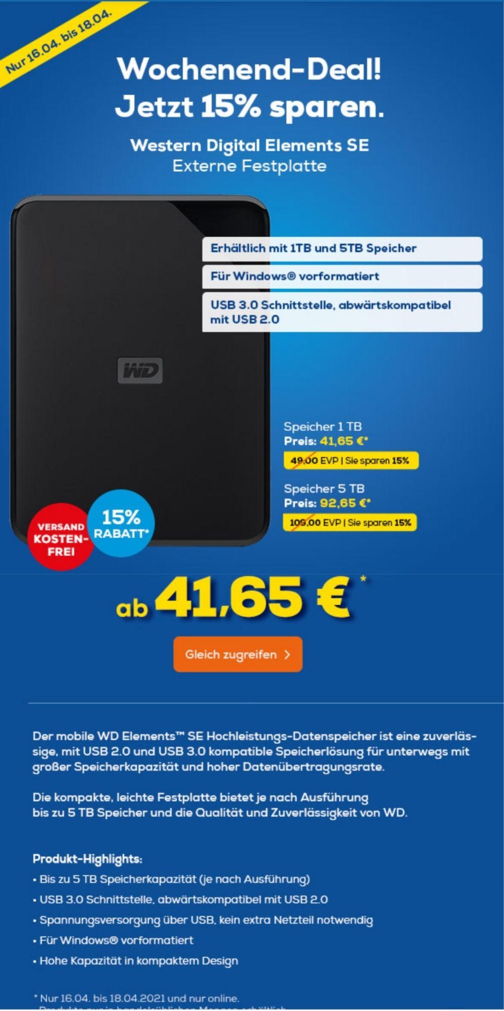 """Western Digital Elements SE 1TB (externe 2,5""""-Festplatte mit USB 3.0)"""
