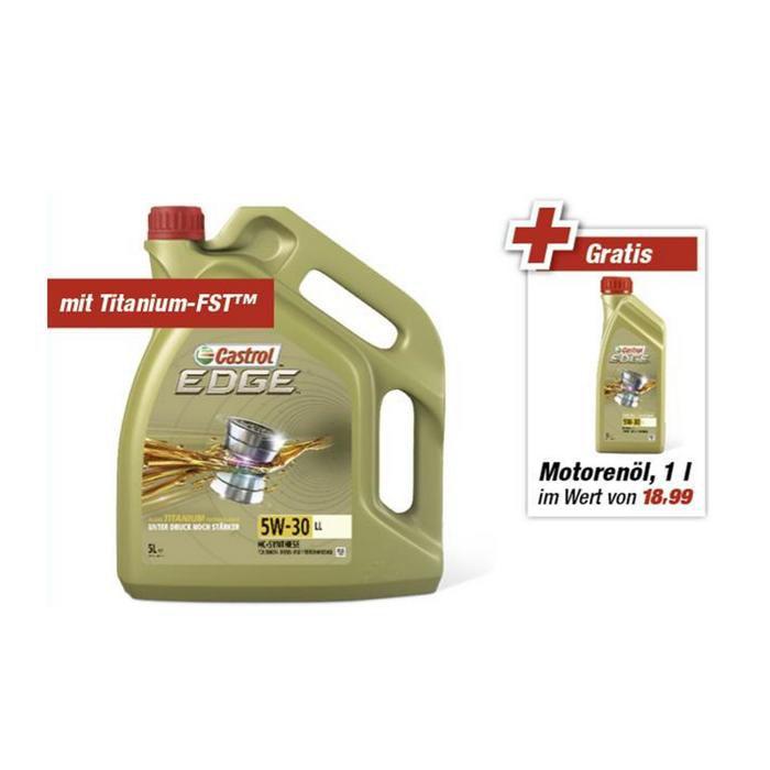 [lokal Toom, verm. Bundesweit] Castrol Motorenöl 'Edge' 5W-30 LL 5 + 1 l