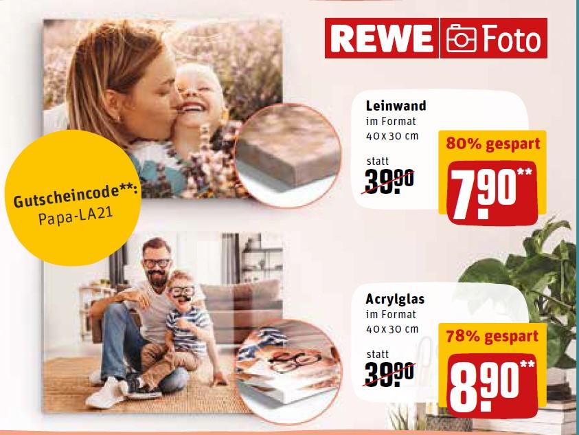 80 % Rabatt auf selbstgestaltete Foto-Leinwände bei REWE Foto