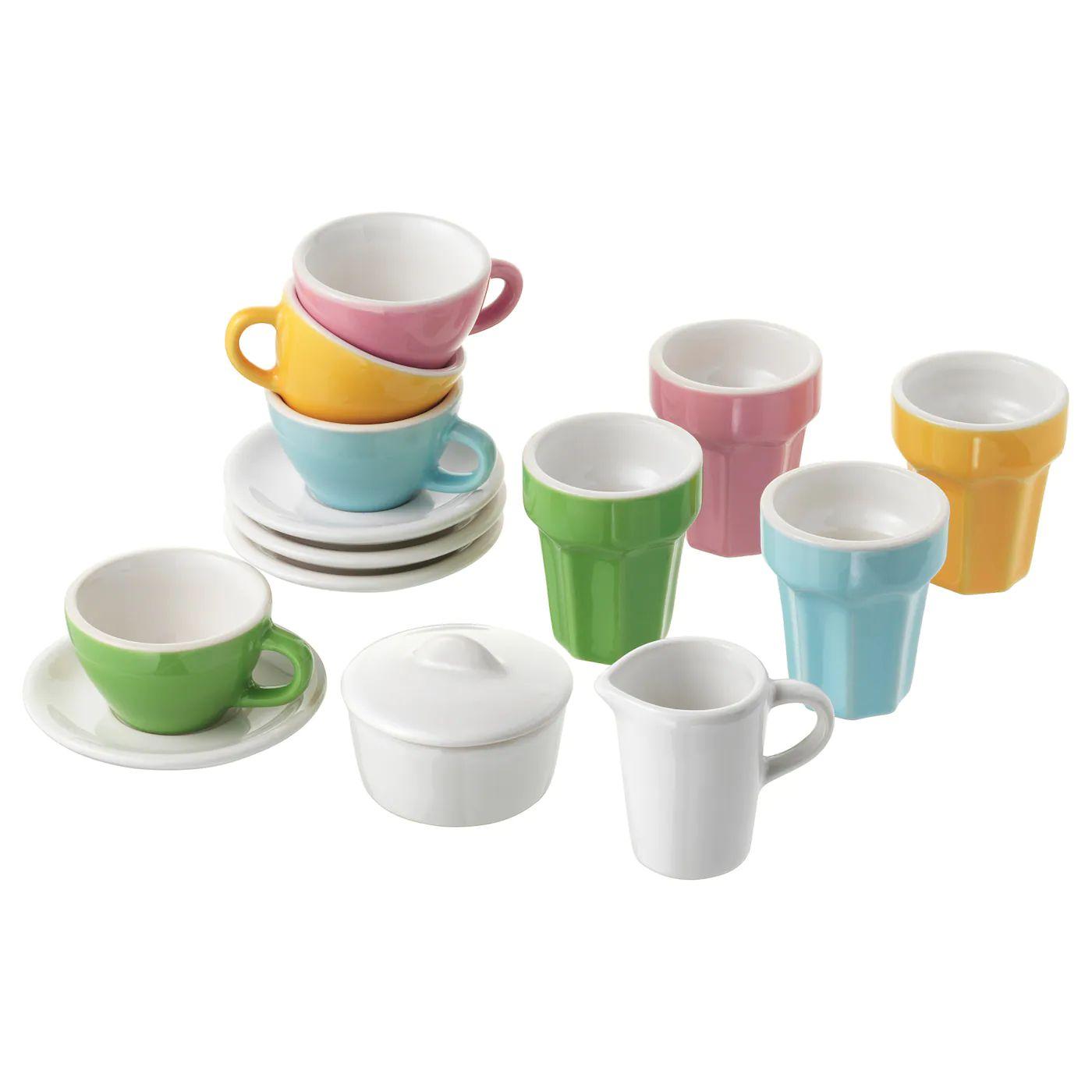 DUKTIG Kinder Kaffee-/Teeservice 10-tlg., bunt, Steinzeug, [Ikea]