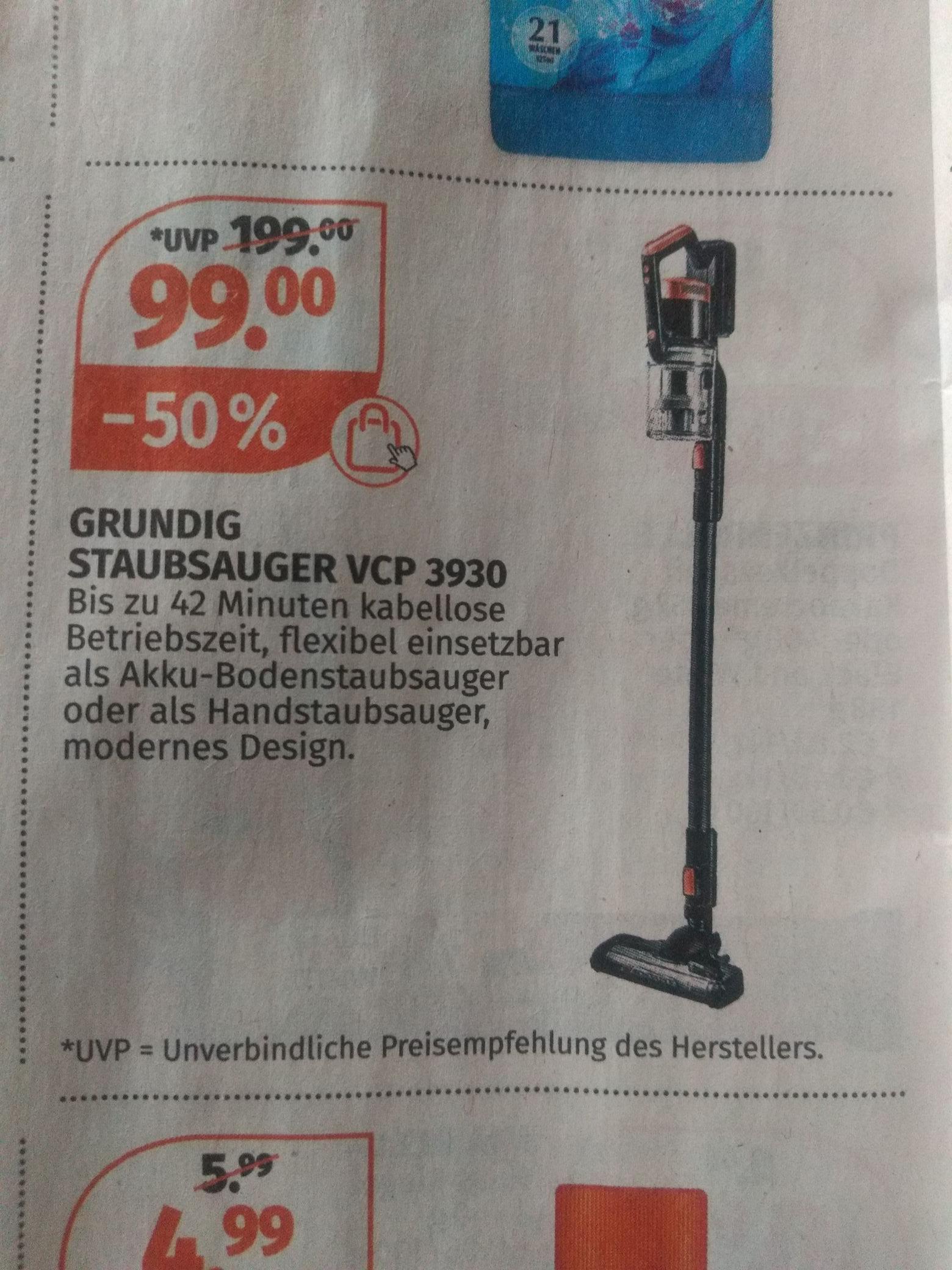 Grundig Akkustaubsauger VCP 3930 mit Rossmann Coupon für 89€