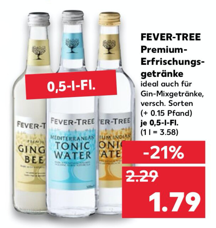 [KAUFLAND] Fever-Tree Premium Tonic Water/Erfrischungsgetränke (vers. Sorten, 1 x 0,5l)