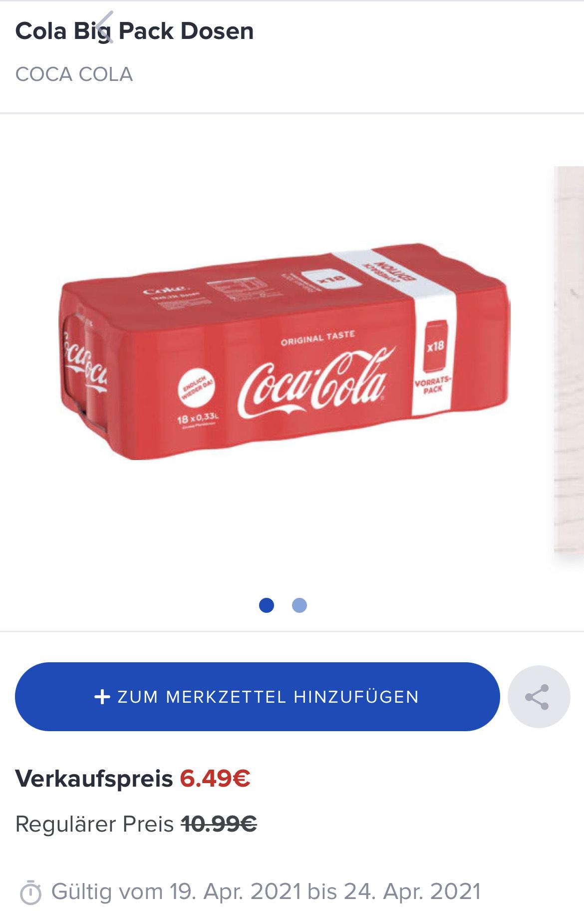 Coca-Cola Dosen 18x0,33l famila nordwest